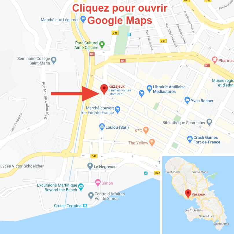 Plan d'accès à la Kazajeux. Cliquez sur l'image pour aller sur Google Maps.